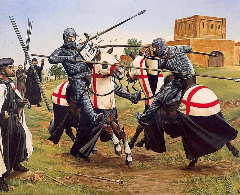 Тренировка тамплиеров. Источник: Osprey — Warrior 091 — Knight Templar 1120-1312 - Орден тамплиеров и крестовые походы | Warspot.ru