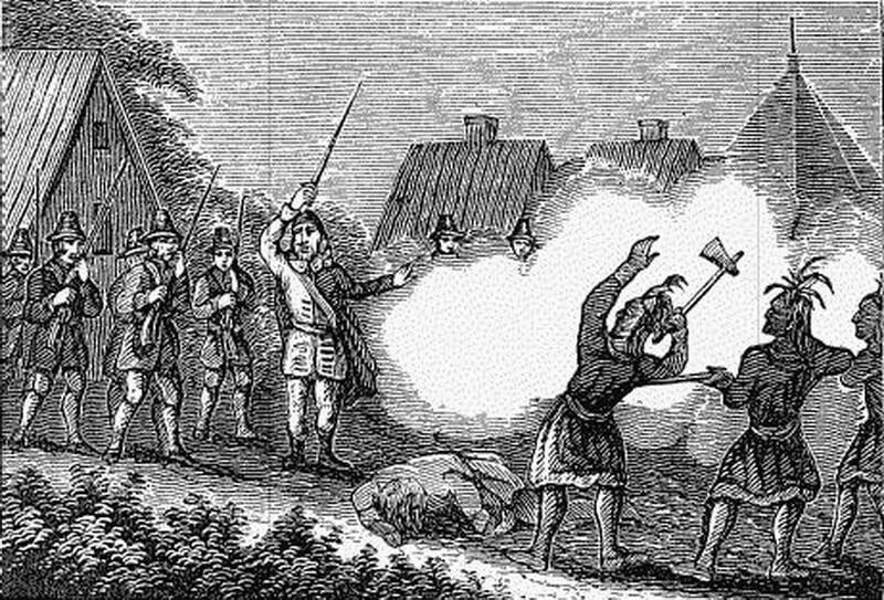 Поселенцы защищают свои дома от индейцев. Рисунок современника событий. commons.wikimedia.org - Смерть сахема   Warspot.ru