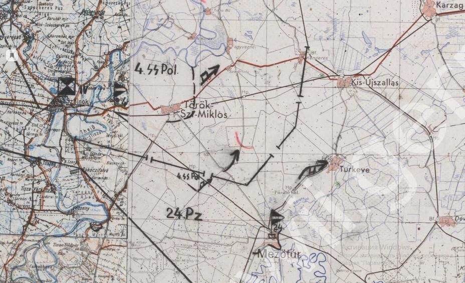 Фрагмент карты штаба немецкой группы армий «Юг» с положением на 20 октября 1944 года - «Королевские Тигры» в Венгрии: «снаряды броню не пробивают, отскакивают…» | Warspot.ru