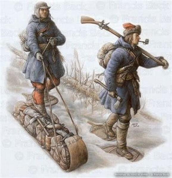 Канадские милиционеры во время зимнего марша. pinterest.ca - Война короля Вильгельма: корень зла   Warspot.ru