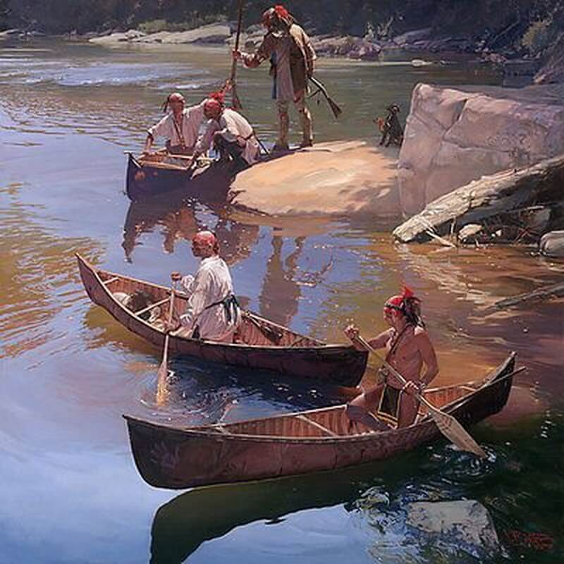 Воины ирокезы садятся в каноэ. pinterest.com - Война короля Вильгельма: корень зла   Warspot.ru