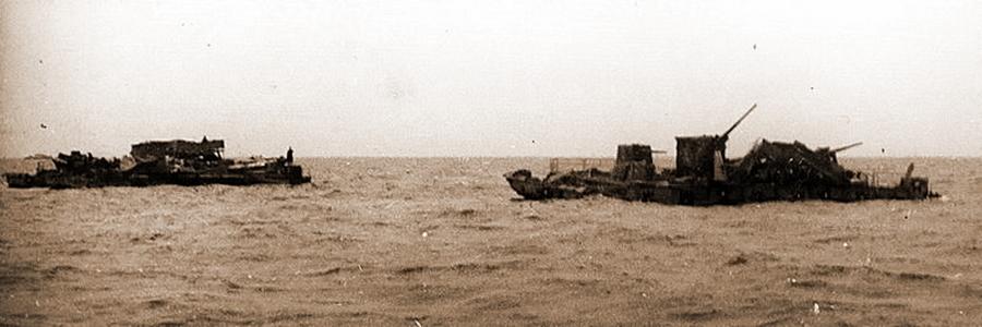 Брошенные у острова Сухо немецкие паромы - Фиаско флотилии «Зибелей»   Warspot.ru