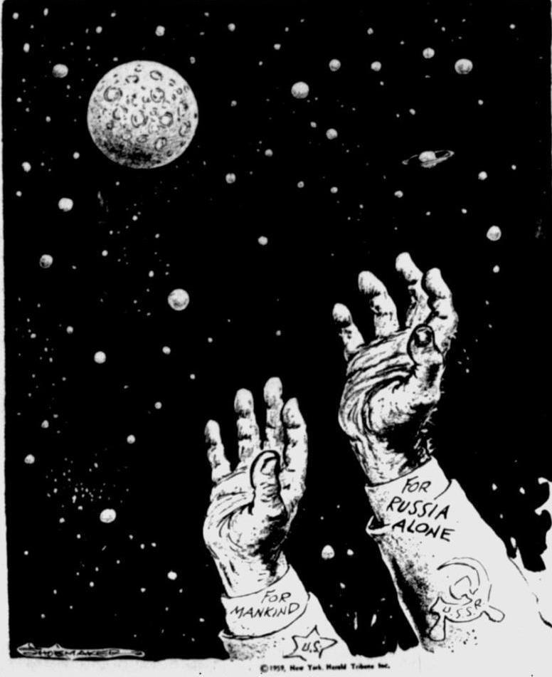 Американская карикатура эпохи космической «гонки» между СССР и США из газеты «The Bulletin» от 13 января 1959 года: «США — для человечества, СССР — только для России» - Похитители «Луны»   Warspot.ru