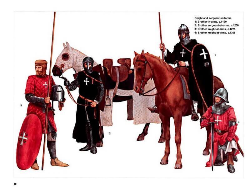 Рыцари-иоанниты времён крестовых походов. Источник: Osprey — Warrior 033 — Knight Hospitaller (1). 1100–1306 - Орден госпитальеров и крестовые походы | Warspot.ru