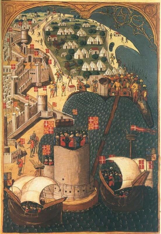 Башня святого Николая в 1480 году. Средневековый манускрипт. Источник: Osprey — Fortress 096 — The Fortress of Rhodes 1309–1522 - Орден госпитальеров и крестовые походы | Warspot.ru