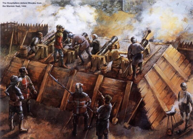 Защита Родоса от мамлюкского вторжения в 1444 году. Источник: Osprey — Warrior 041 — Knight Hospitaller (2). 1306–1565 - Орден госпитальеров и крестовые походы | Warspot.ru