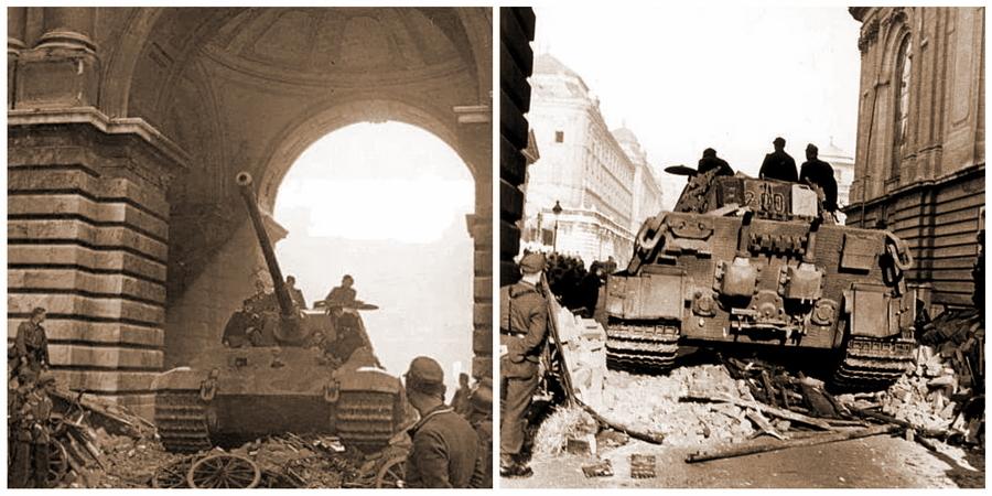 «Королевский Тигр» №200 командира 2-й роты 503-го тяжёлого танкового батальона возле резиденции Хорти - «Королевские Тигры» в Венгрии: первые бои | Warspot.ru