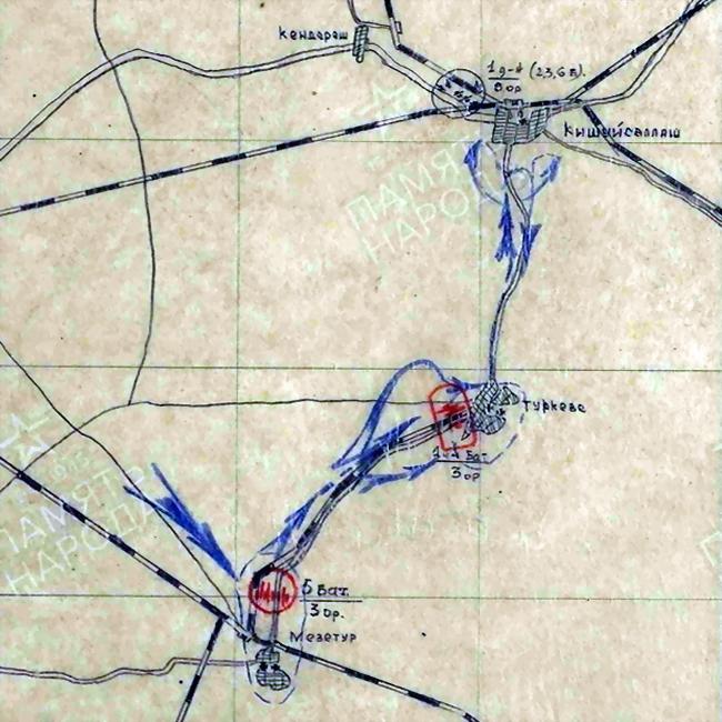 Схема расположения орудий 1325-го лёгкого артиллерийского полка в районе Мезетур — Туркеве - «Королевские Тигры» в Венгрии: первые бои | Warspot.ru