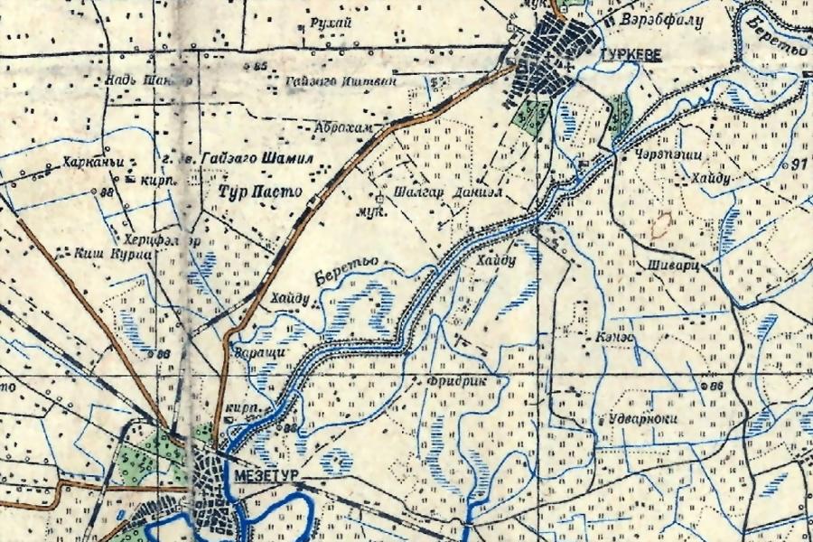 Фрагмент карты с районом Мезетур — Туркеве - «Королевские Тигры» в Венгрии: первые бои | Warspot.ru