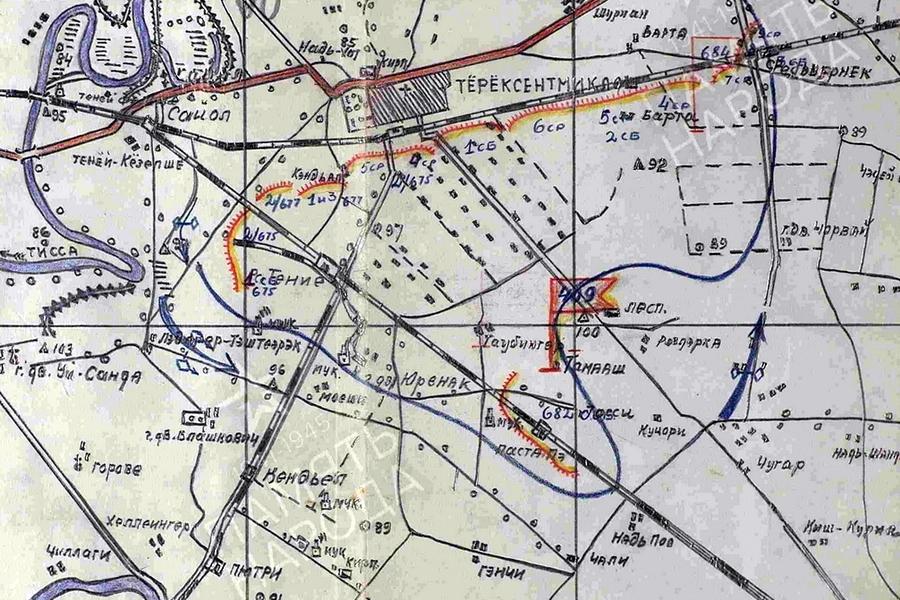 Схема боевых порядков 409-й стрелковой дивизии в районе Тёрёксентмиклош, где дивизия попадёт в окружение - «Королевские Тигры» в Венгрии: первые бои | Warspot.ru