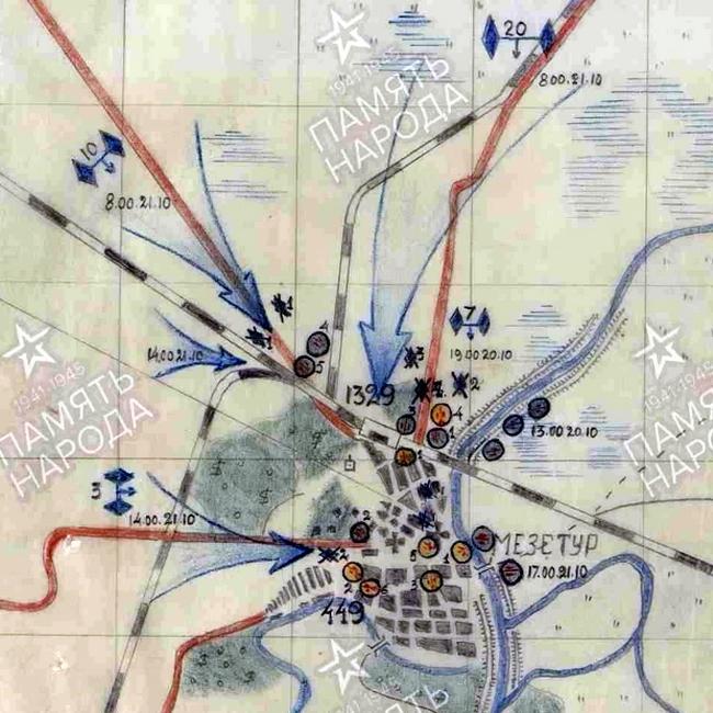 Схема боя полков 2-й истребительно-противотанковой артиллерийской бригады за Мезетур - «Королевские Тигры» в Венгрии: первые бои | Warspot.ru