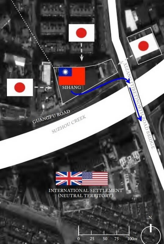На схеме показаны расположение склада Сыхан и Международного сеттльмента, направления атаки японских войск, а синими стрелками обозначен путь отступления китайских солдат в ночь на 1 ноября 1937 года. warhistoryonline.com - Цифры Warspot: 5 дней  | Warspot.ru